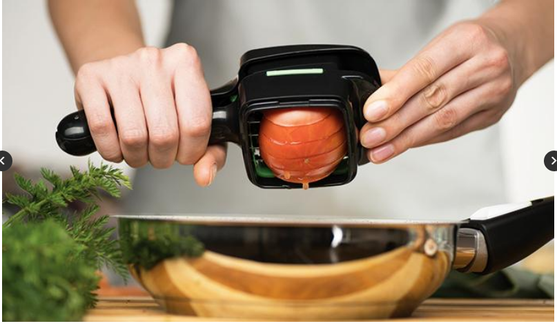 Onion being sliced directly in the Pan with the NutriChopper