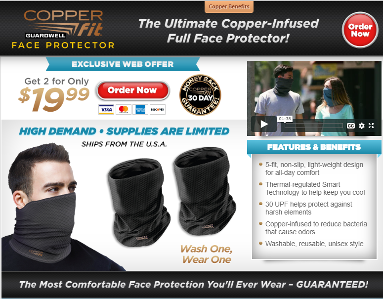 Copper Fit Guardwell Face Protector REVIEW